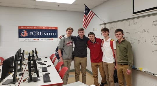 The inaugural St. Henry District High School esports team: (left to right): Jay Giffin, Joey Fedders, Jackson Clark, Grady Botkin, Robert Blasingame.