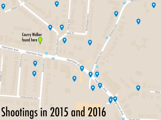 A map showing the locations of all the shootings near Harrison and McHenry avenues in 2015 and 2016.