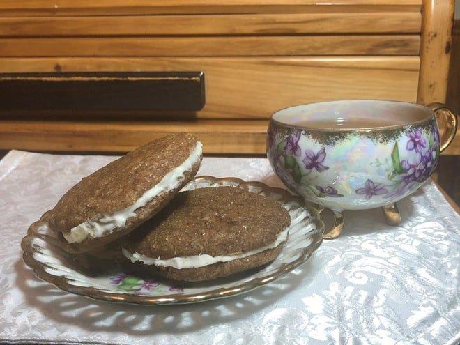 Delicious cream-filled molasses cookies.