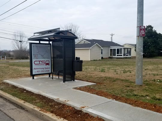 The Clarksville Transit System placed four new bus shelters around the Tiny Town Road area this month. The shelters include a bench, solar powered LED lights, a trash receptacle and space for wheelchair access.