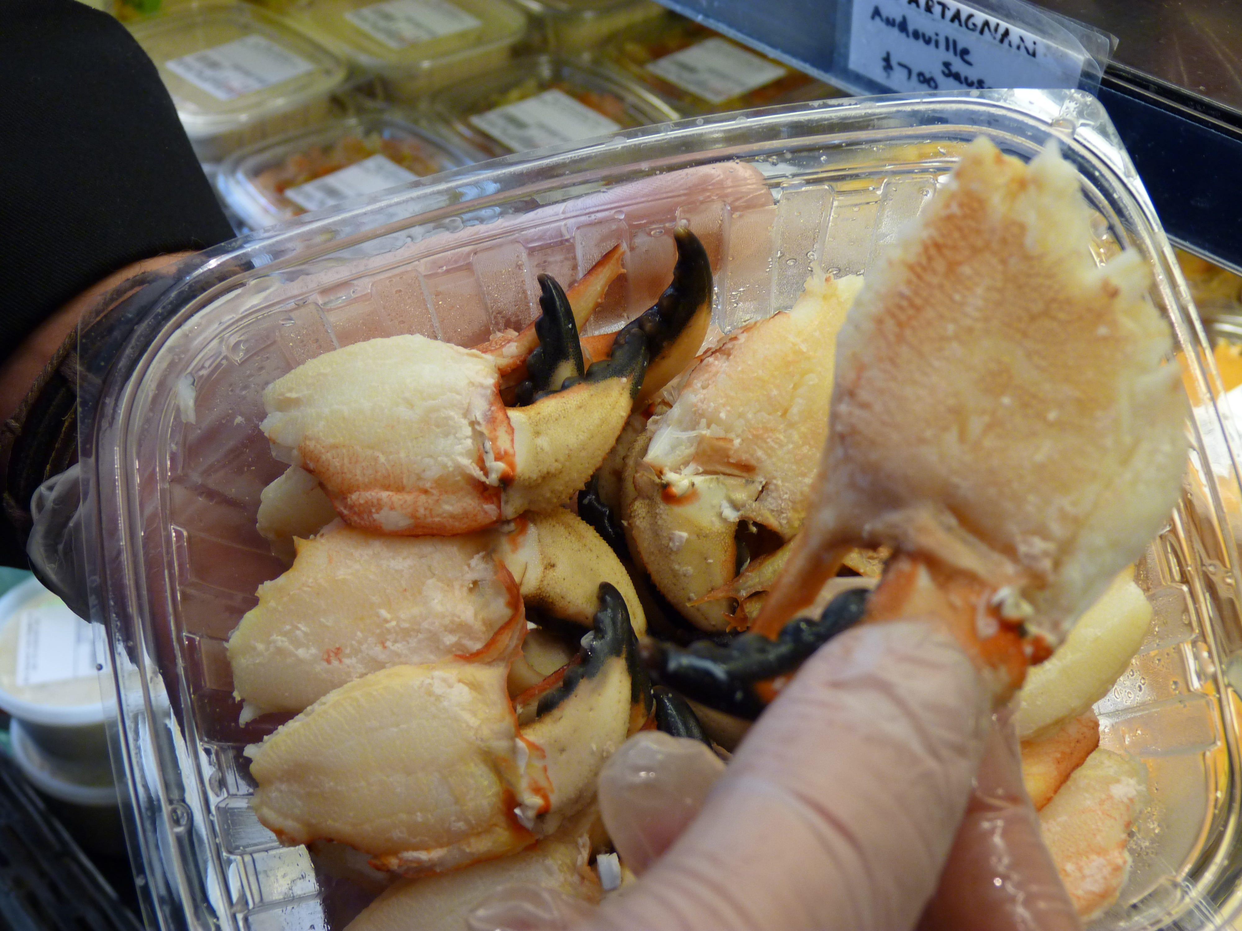Jonah crab claws at Metropolitan Seafood & Gourmet in Lebanon.