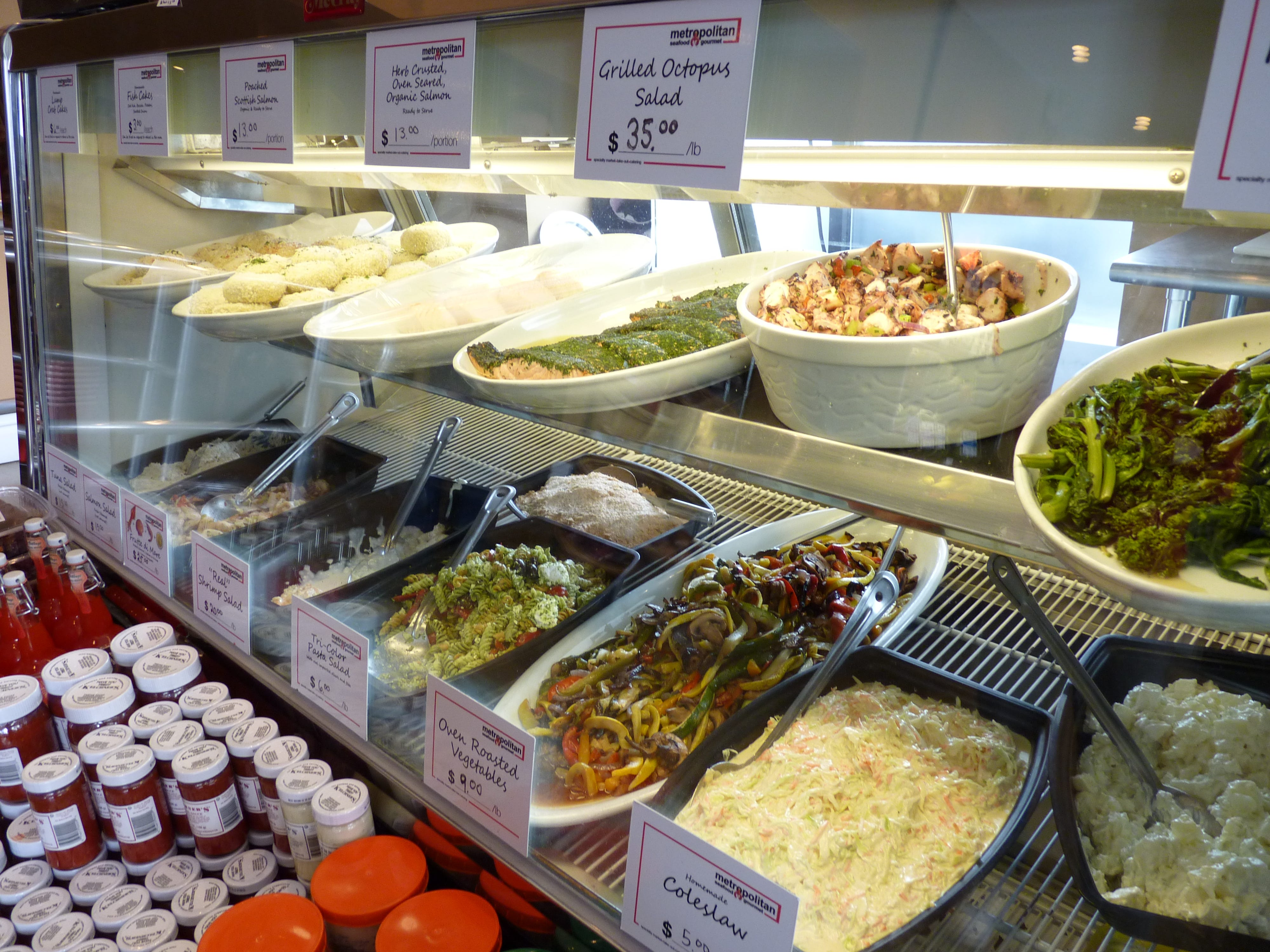 Salads displayed at Metropolitan Seafood & Gourmet in Lebanon.