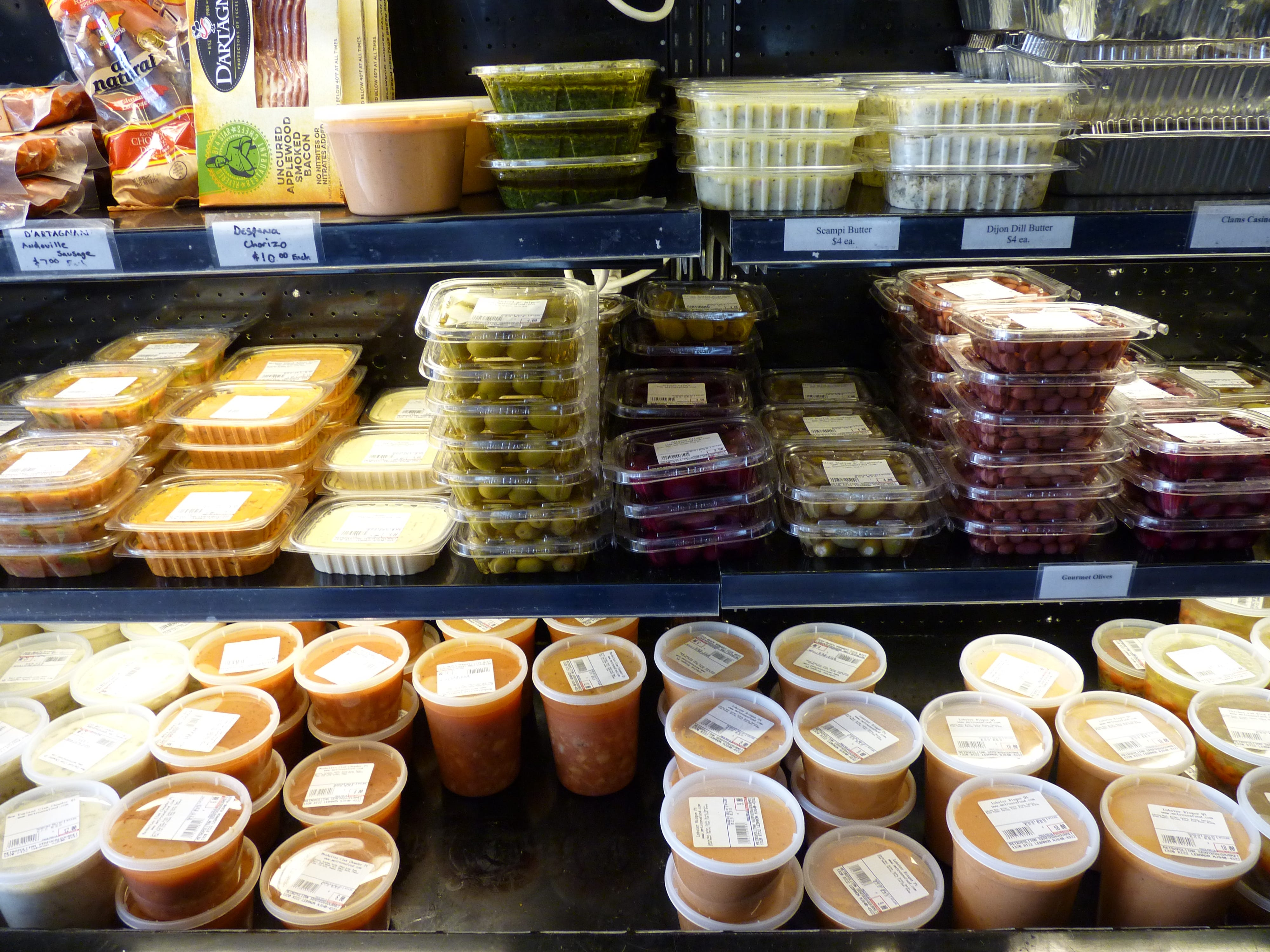 Salads and soups at Metropolitan Seafood & Gourmet in Lebanon.