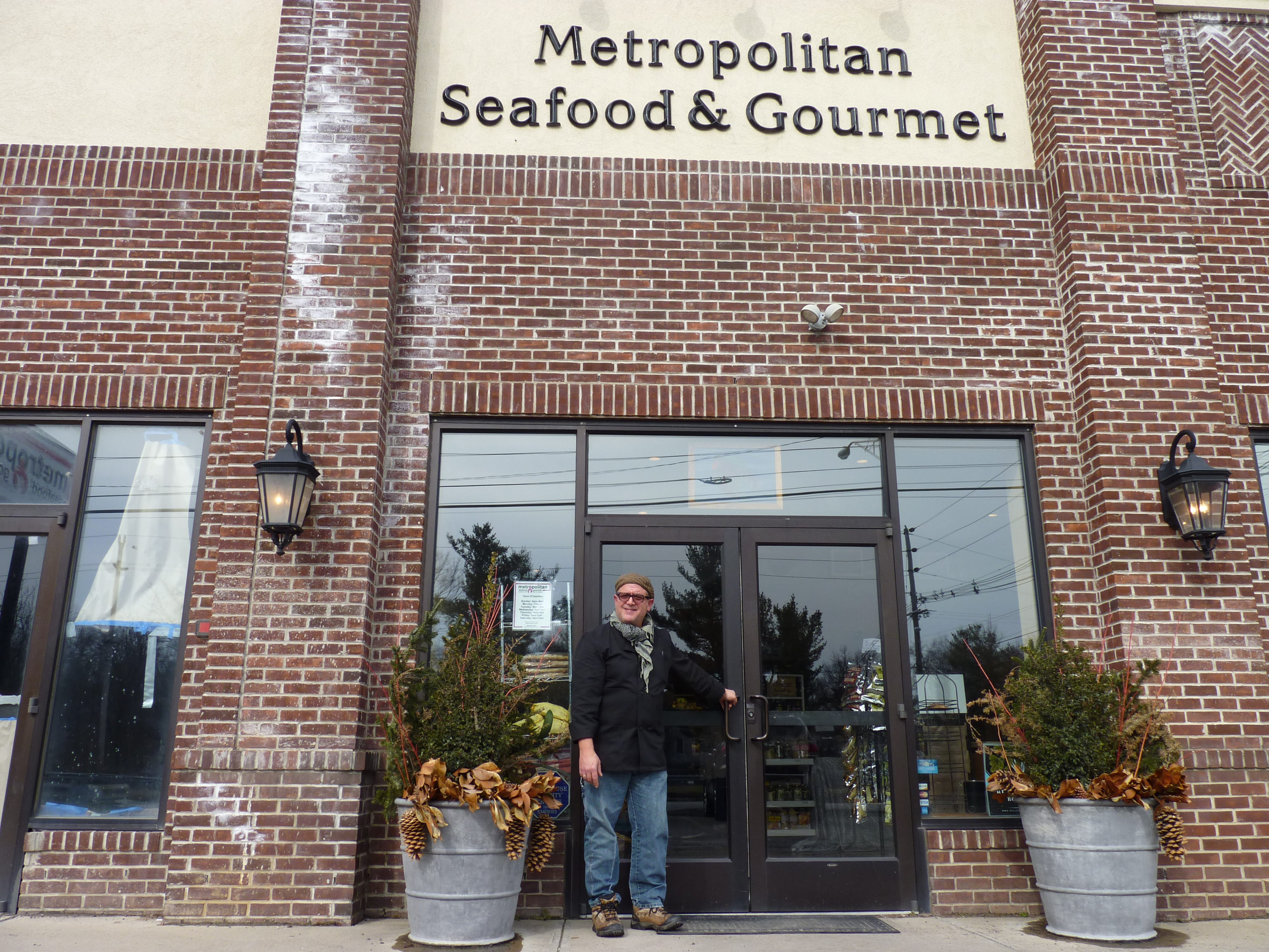 Owner Mark Drabich in front of Metropolitan Seafood & Gourmet in Lebanon.