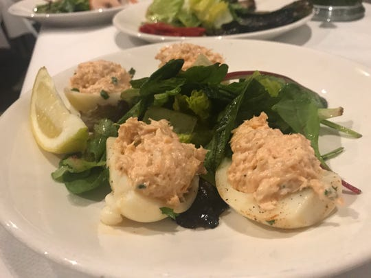 Deviled eggs stuffed with a fresh salmon salad.