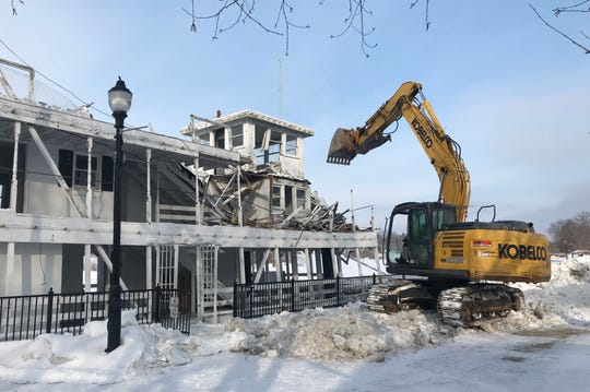 Demolition of the Lowell Showboat seen here on Thursday, February 28, 2019.