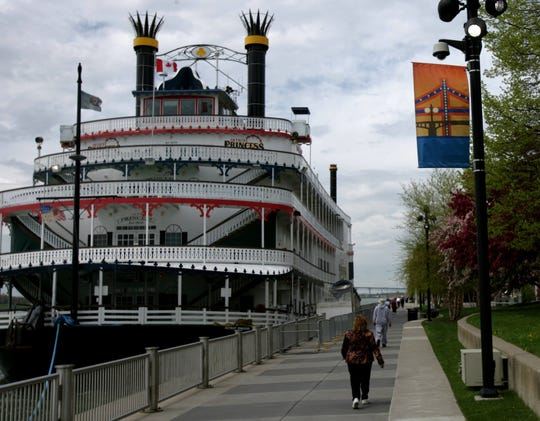 View including the Detroit Princess river boat docked alongside Detroit's river walk at Hart Plaza heading west toward Cobo Center.  May 1, 2006