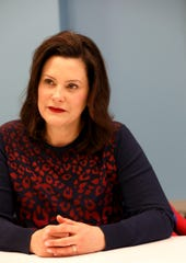 Michigan Governor Gretchen Whitmer talks with the Detroit Free Press editorial board on at the newspaper on Thursday, February 14, 2019..