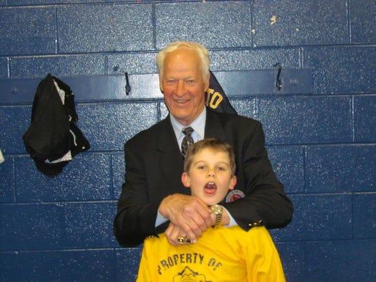 Jack Hughes with Red Wings legend Gordie Howe.