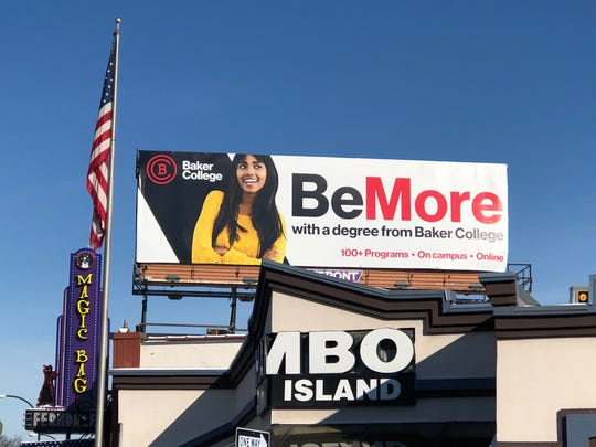 A billboard for Baker College is pictured Feb. 28, 2019 on the east side of Woodward Avenue north of Vester Avenue in Ferndale.