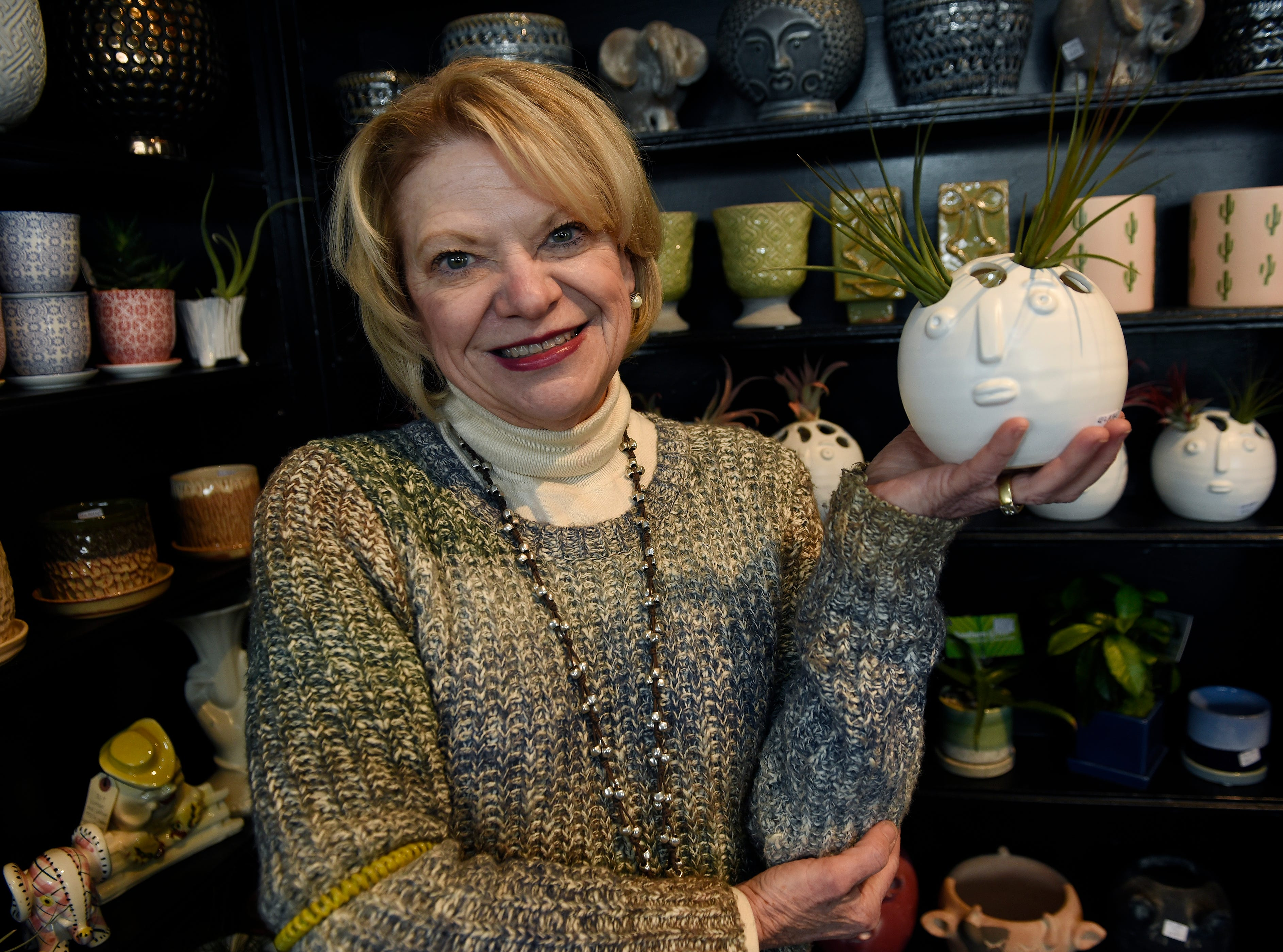 When Kelly Green, 59, owner of Southern Green, first got into the plant business about seven years ago, head-shaped planters were very hard to find. They've grown significantly in popularity, she says.