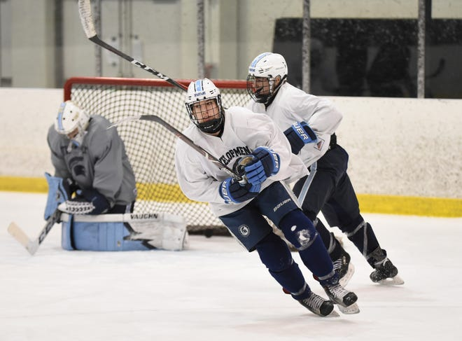 Livonia Stevenson's Patrick McGowan takes a shot in practice Wednesday in Livonia.