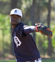 Tigers reliever Victor Alcantara is trying to add a split-fingered fastball to his repertoire.