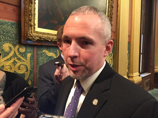 Rep. Jason Wentworth, R-Clare, speaks about his civil asset forfeiture reform legislation after the House passed the bills 107-3 Thursday, Feb. 28, 2019.