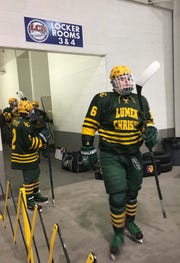 Keegan Smith is a 300-pound offensive lineman for Jackson Lumen Christi, but also plays hockey.