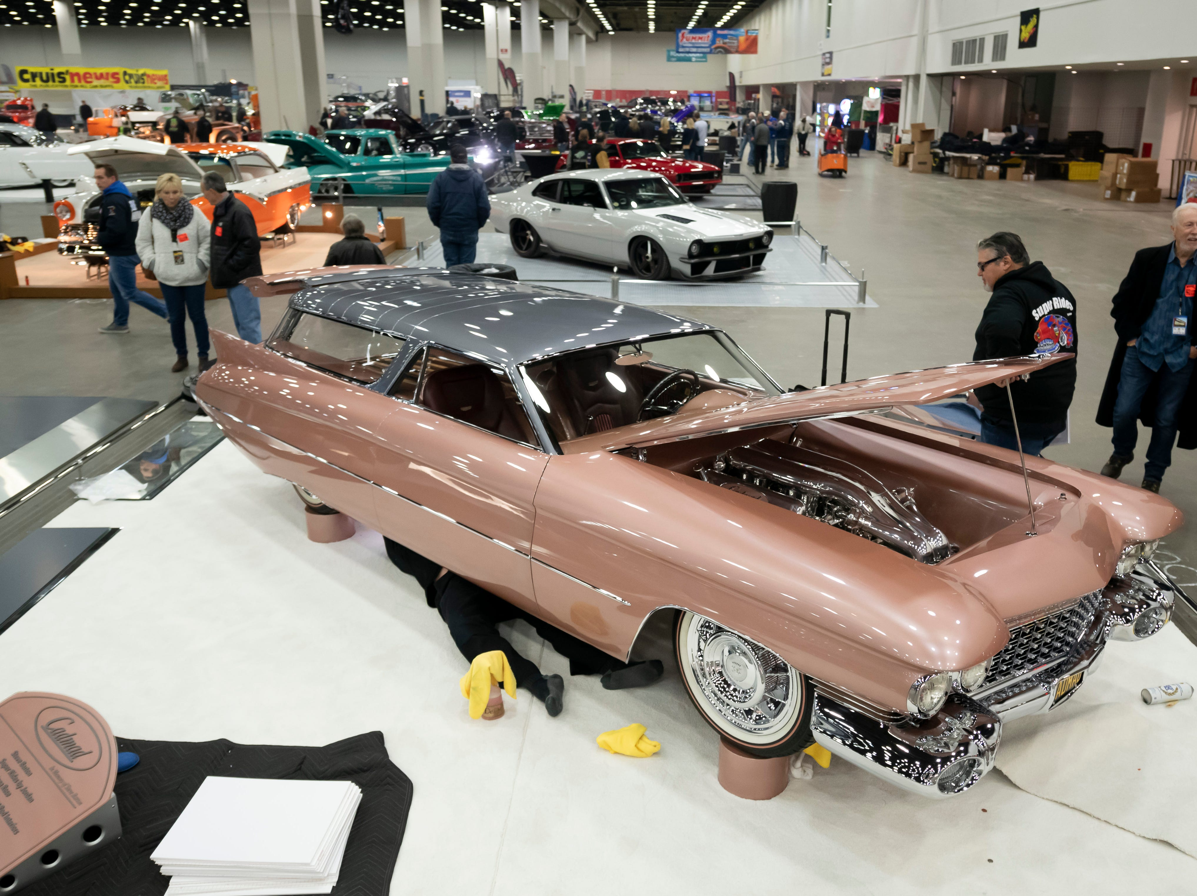 A 1959 Cadillac, nicknamed Cadmad and owned by Steve Barton, is prepared for display at Cobo Center for this weekend's Detroit Autorama show, which opens at noon Friday and runs through Sunday, March 3, 2019.