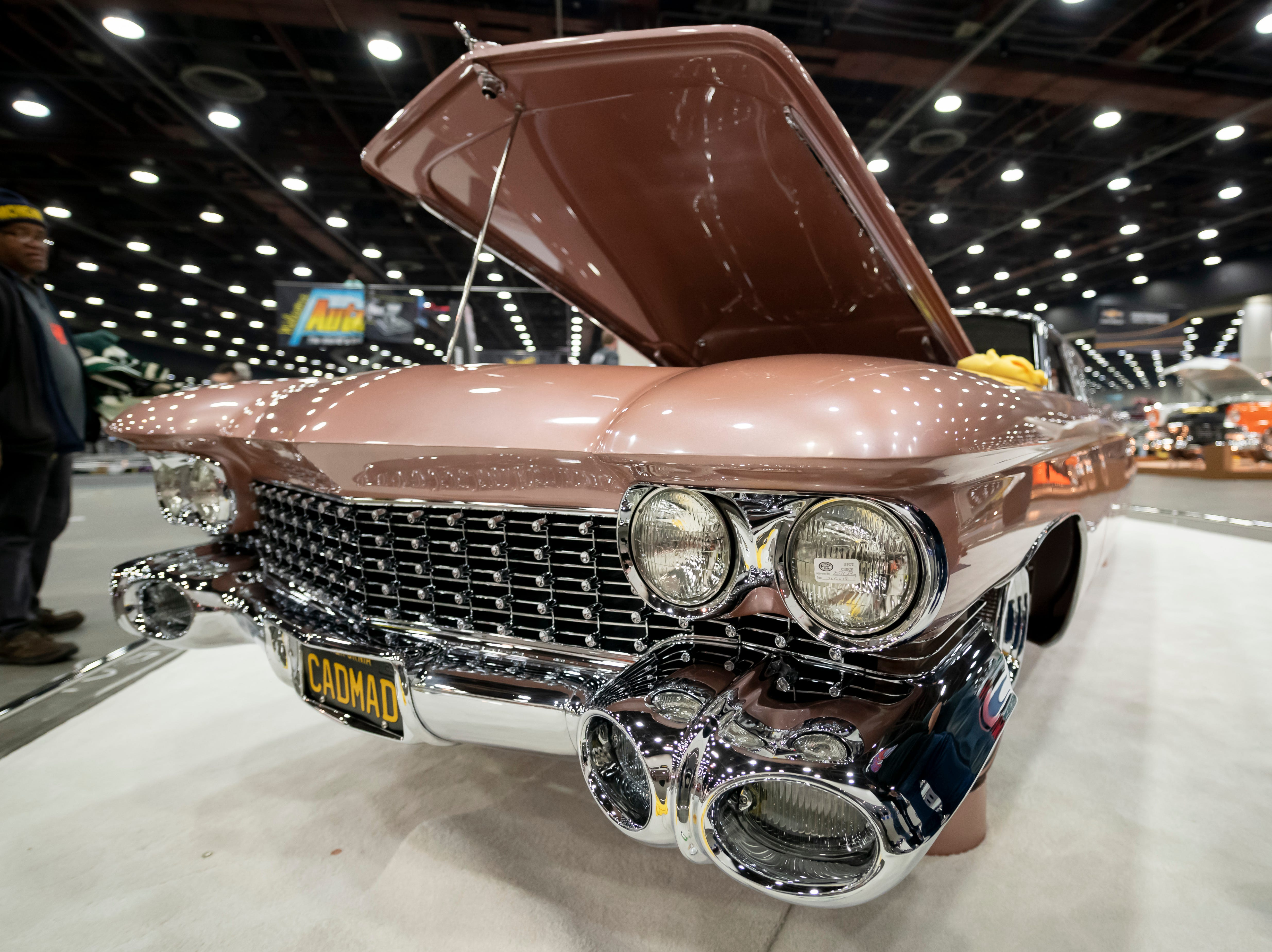 A 1959 Cadillac, nicknamed Cadmad and owned by Steve Barton, is on display at Detroit Autorama.