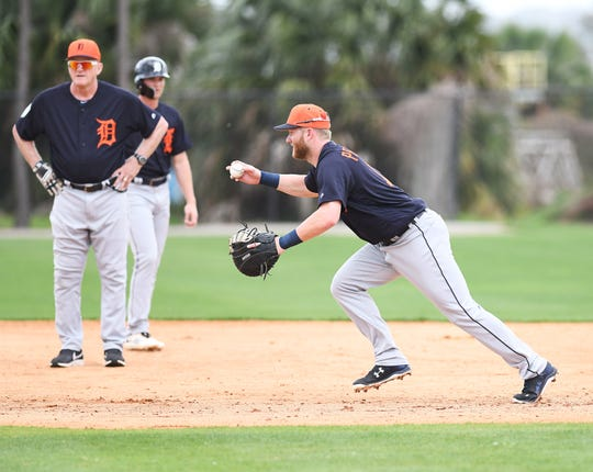 The Tigers' Dustin Peterson, shown here during infield drills in Lakeland, clubbed a three-run home run Thursday against the Braves.
