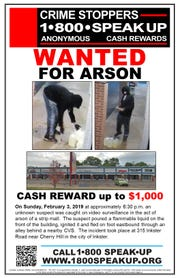 A Crime Stopper's flier offers up to $1,000 for tips leading to an arrest in an Inkster strip mall blaze.