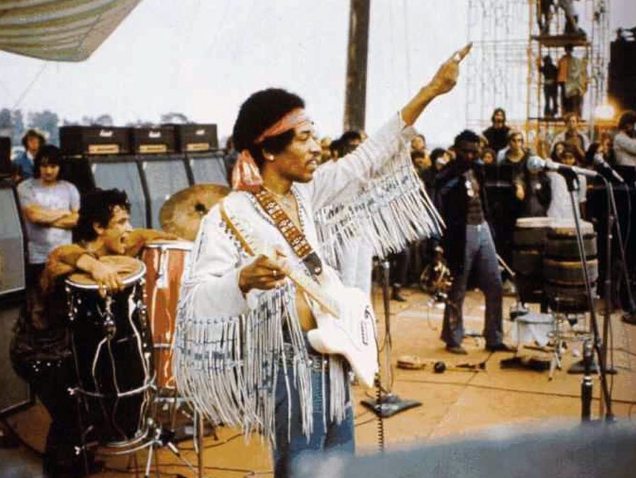 Jimi Hendrix at Woodstock in 1969.