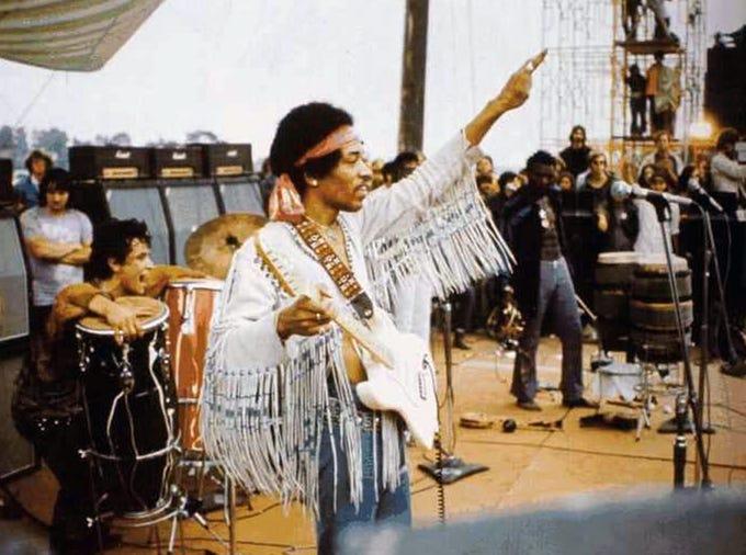 Jimi Hendrix at Woodstock in 1969.