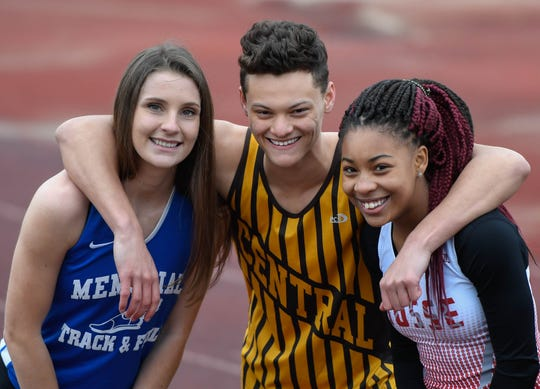 Track stars, left to right, Memorial's Claire Sievern, Central's Jalen Bowman and Bosse's Tionne Brigham Thursday, February 21, 2019