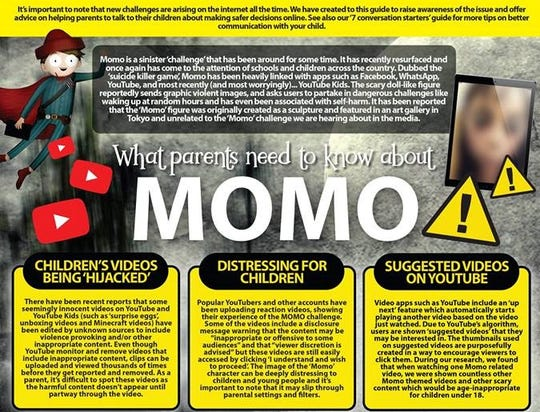 "This graphic, titled ""What parents need to know about Momo"" is being circulated by the National Online Safety website and was shared on Facebook Wednesday evening by the Evansville Vanderburgh School Corporation."