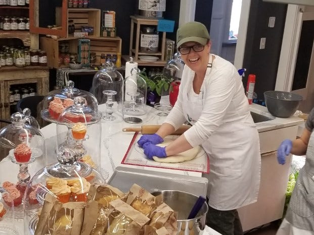 Martha Wilkinson hard at work in the Capers Emporium bakery.