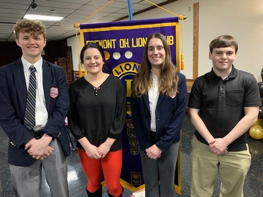 The Fremont Lions Club honored Students of the Month, from left to right, Greg Brown,  Olivia Baptista,  Madeline Molyet and Dillon Christopher.
