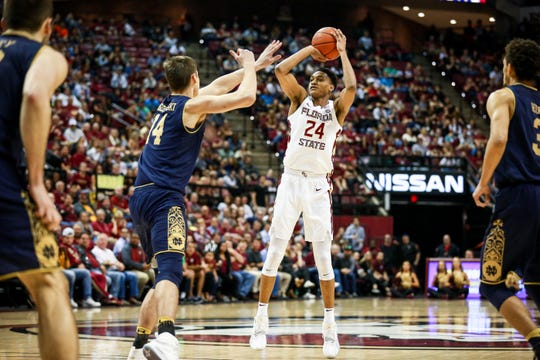 Devin Vassell (24) and Florida State look to improve to 14-1 at home this year with a win on Saturday.