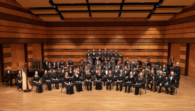 The 2018-2019 CSU Wind Symphony poses for a picture October 3, 2018.