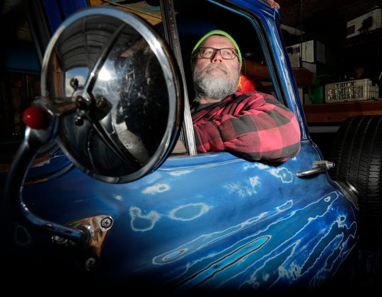 Marty Olejniczak sits in his 1958 Chevrolet truck in his garage on Thursday, February 28, 2019 in Howard, Wis.