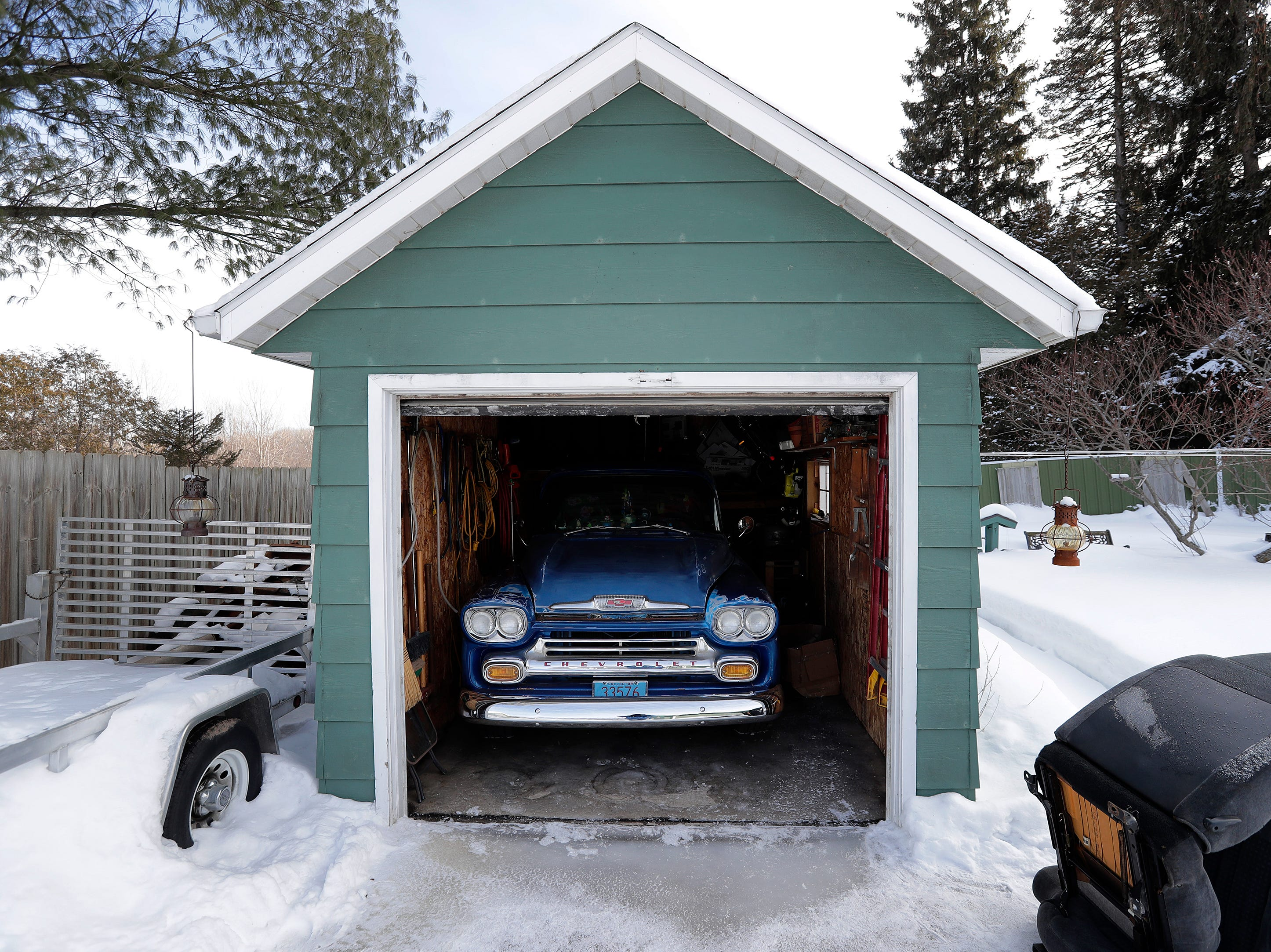 Marty Olejniczak's 1958 Chevrolet truck is shown in his garage on Thursday, February 28, 2019 in Howard, Wis.