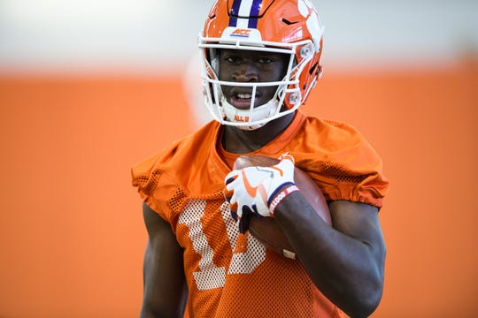 Clemson wide receiver Joseph Ngata (10) during practice at the Allen Reeves Football Complex on Wednesday, Feb. 27, 2019.