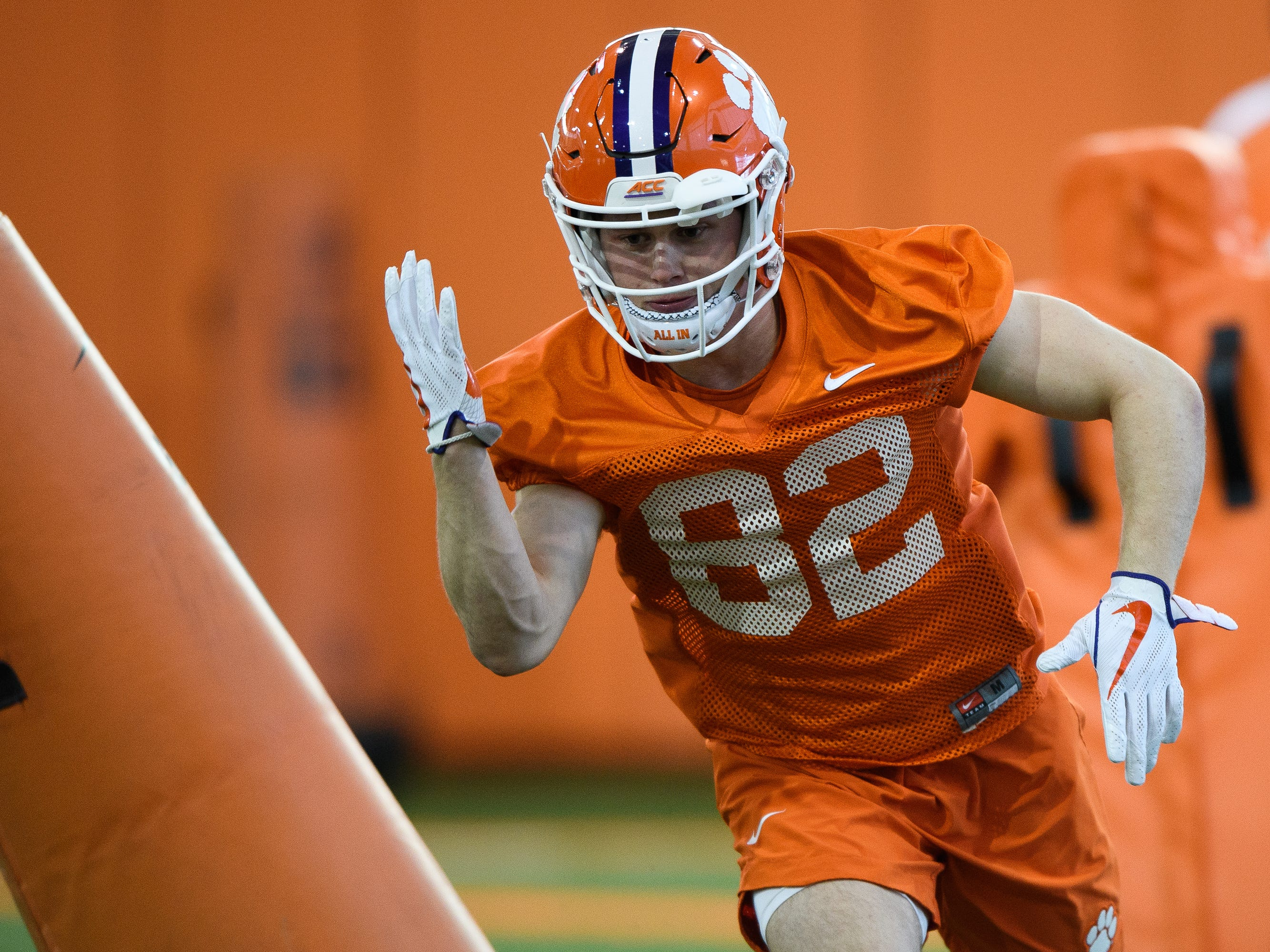 Clemson wide receiver Will Brown (82) during practice at the Allen Reeves Football Complex on Wednesday, Feb. 27, 2019.