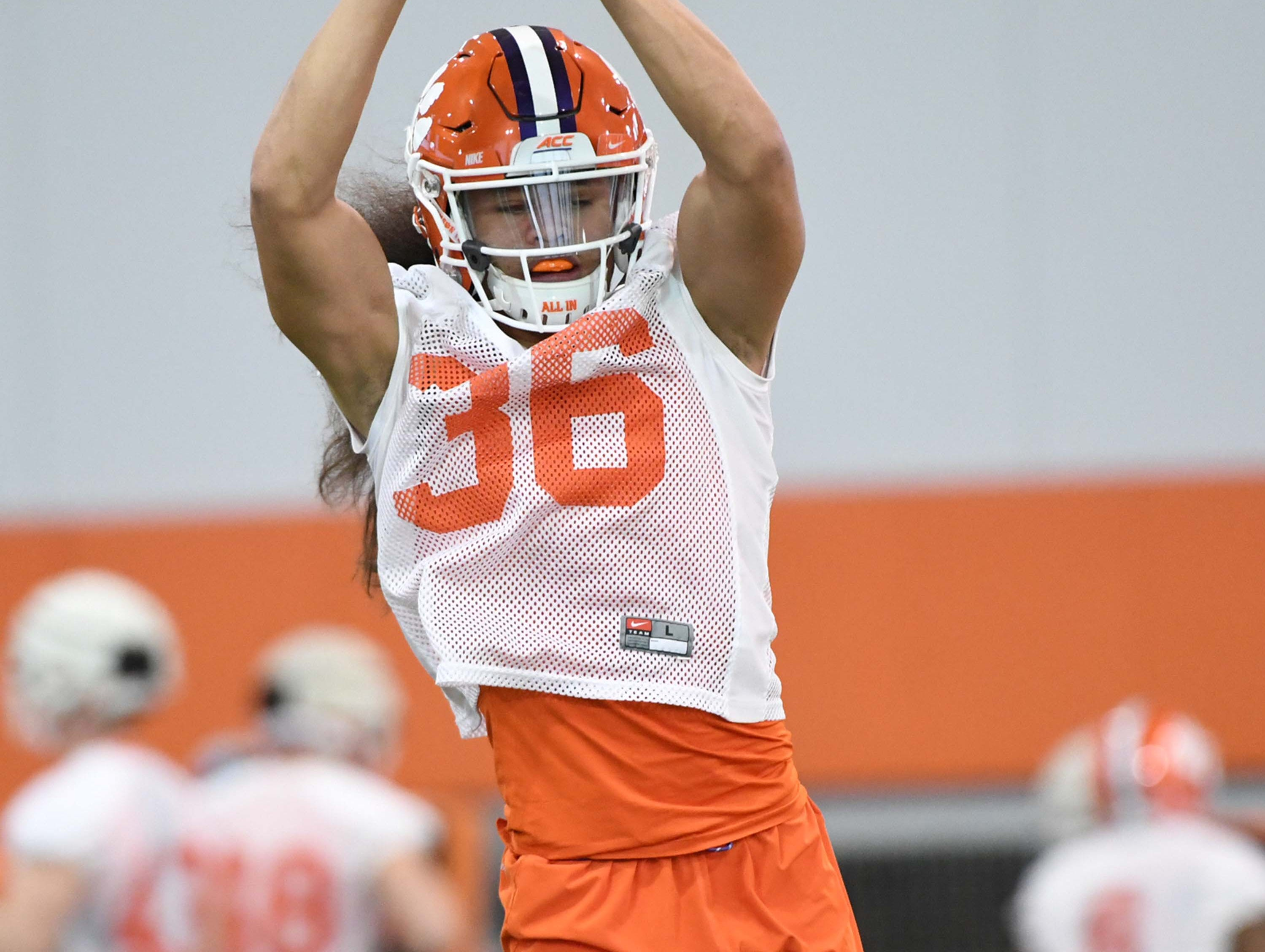 Clemson defensive back Lannden Zanders (36) during the first practice at the Clemson Indoor Practice Facility in Clemson Wednesday, February 27, 2019.