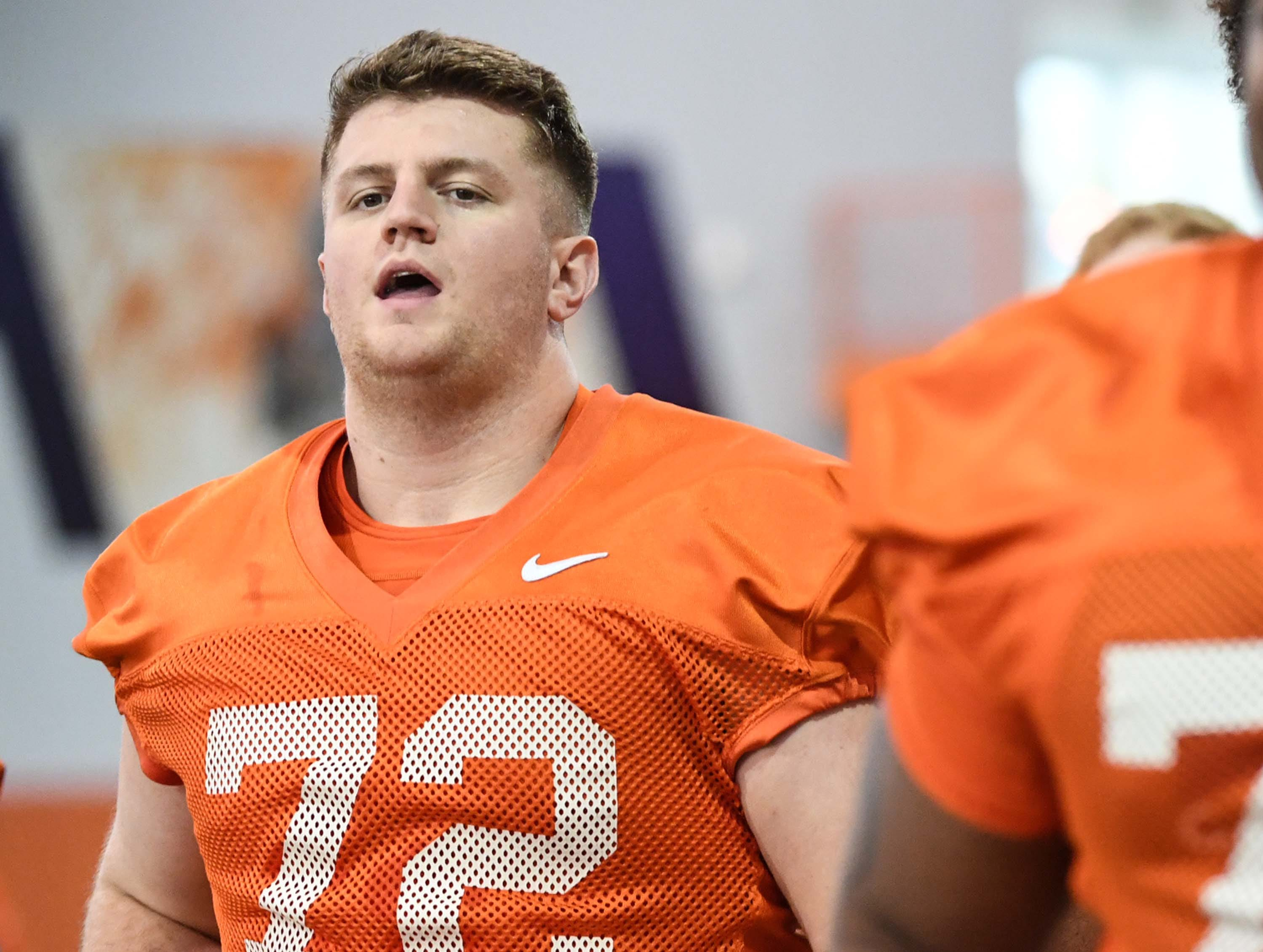Clemson offensive lineman Blake Vinson (72) runs during the first practice at the Clemson Indoor Practice Facility in Clemson Wednesday, February 27, 2019.