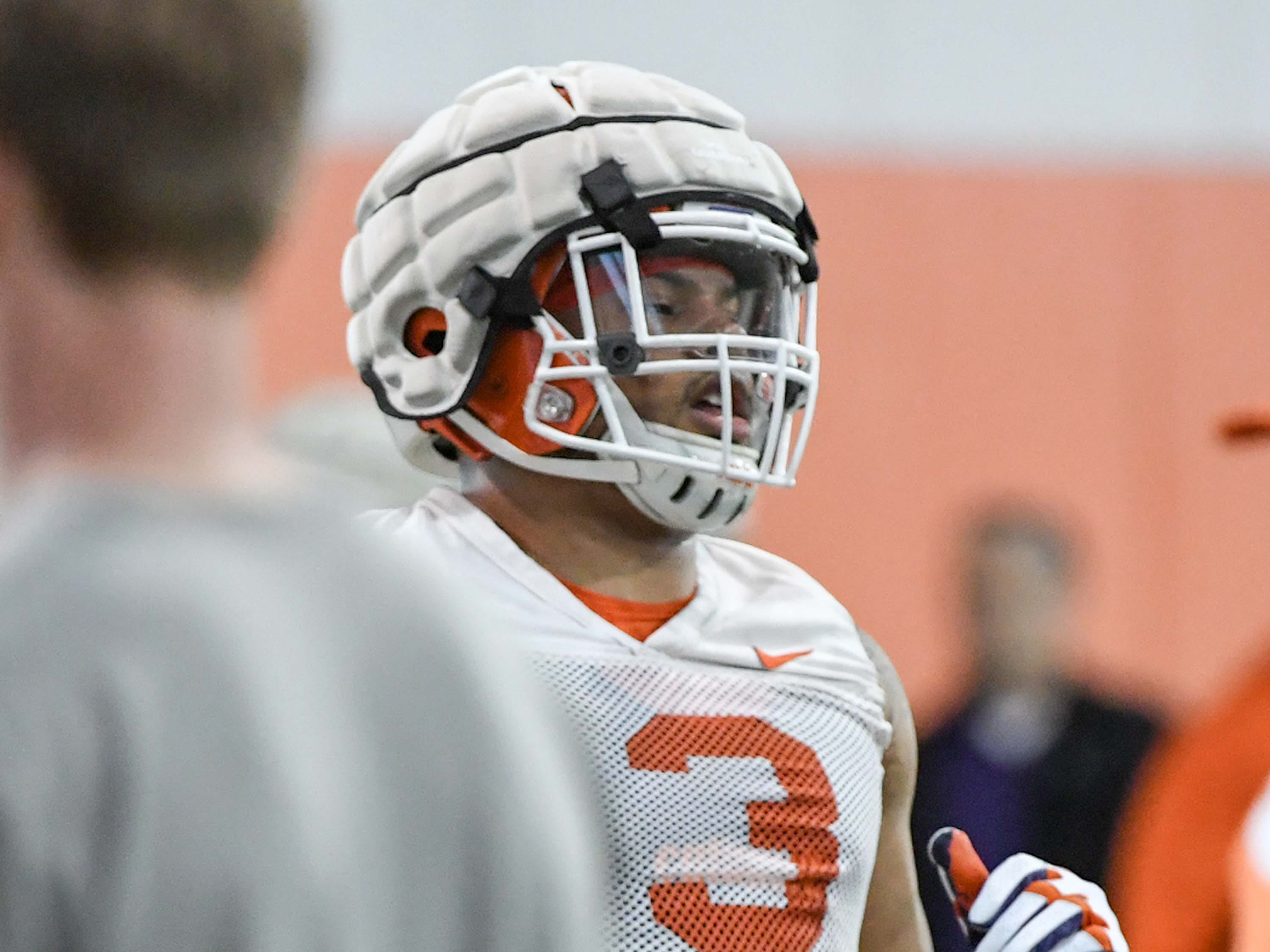 Clemson defensive lineman Xavier Thomas (3) in a defensive drill during the first practice at the Clemson Indoor Practice Facility in Clemson Wednesday, February 27, 2019.
