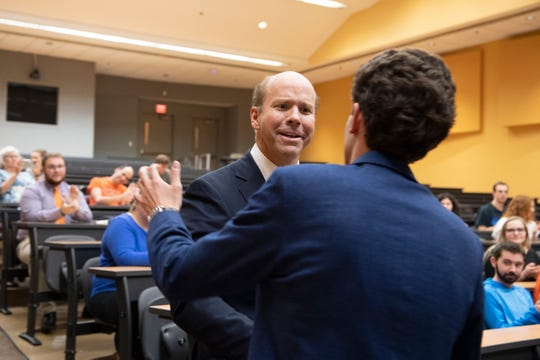 John Delaney shakes hands with Clemson University student Zachary Pate after Pate introduced him to the crowd in Brackett Hall at Clemson University Wednesday, Feb. 27, 2019.