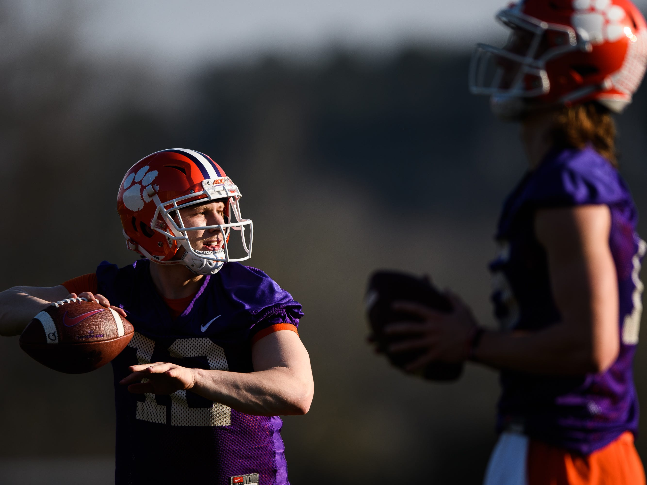 Clemson quarterback Ben Batson (12) throws the ball during practice at the Allen Reeves Football Complex on Wednesday, Feb. 27, 2019.