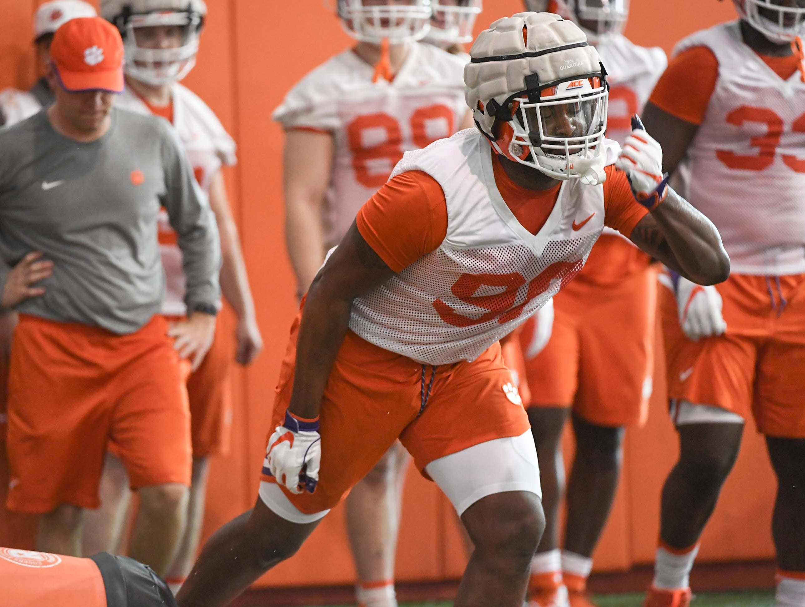 Clemson defensive tackle Darnell Jefferies (90) during the first practice at the Clemson Indoor Practice Facility in Clemson Wednesday, February 27, 2019.