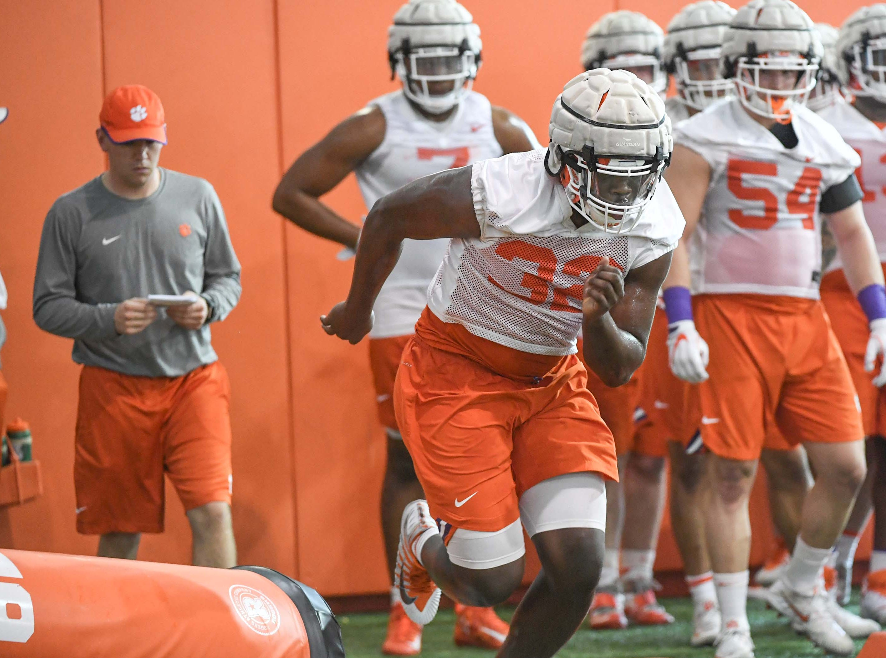 Clemson defensive lineman Etinosa Reuben (32) during the first practice at the Clemson Indoor Practice Facility in Clemson Wednesday, February 27, 2019.