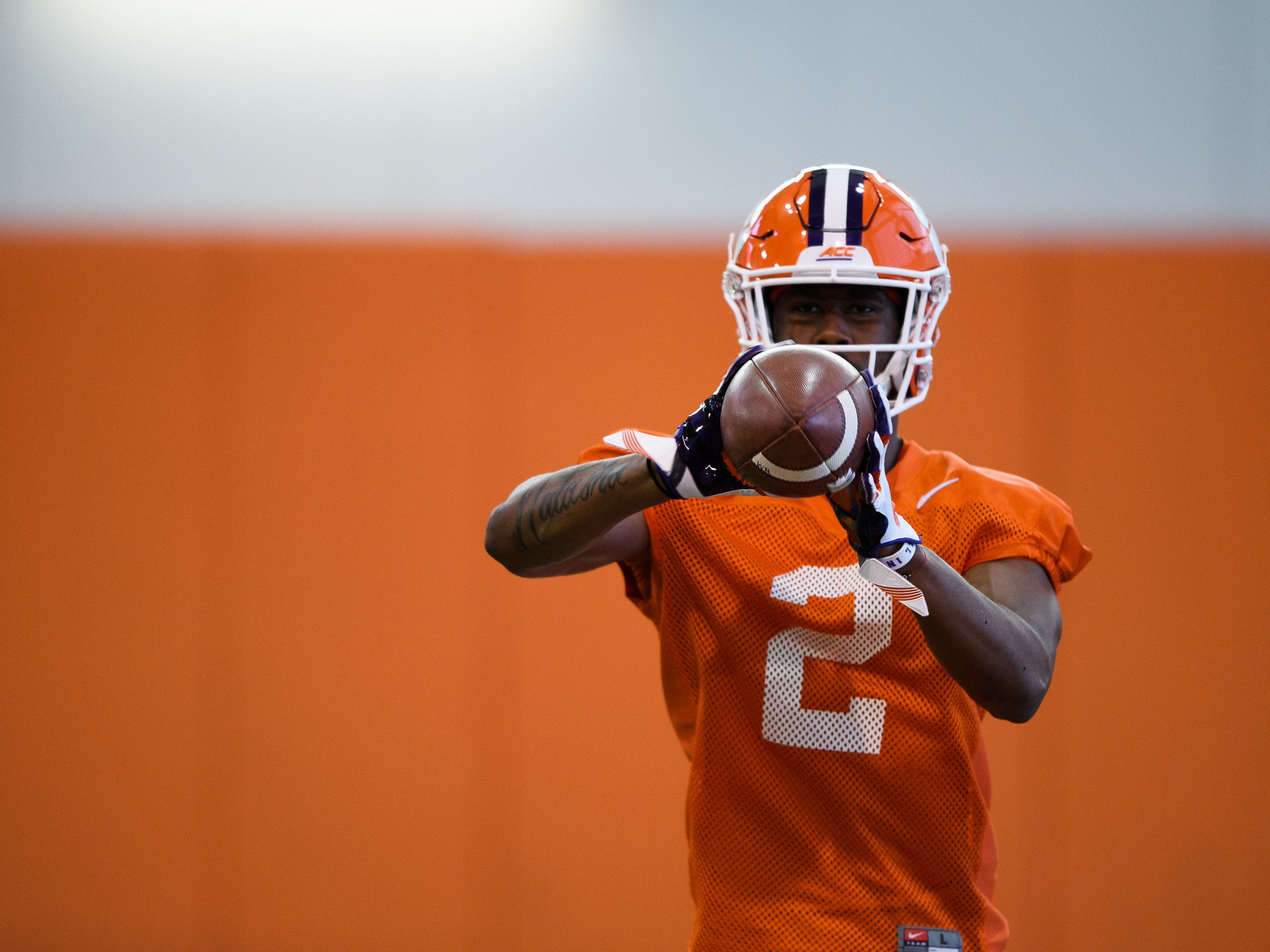 Clemson wide receiver Frank Ladson, Jr. catches the ball during practice at the Allen Reeves Football Complex on Wednesday, Feb. 27, 2019.