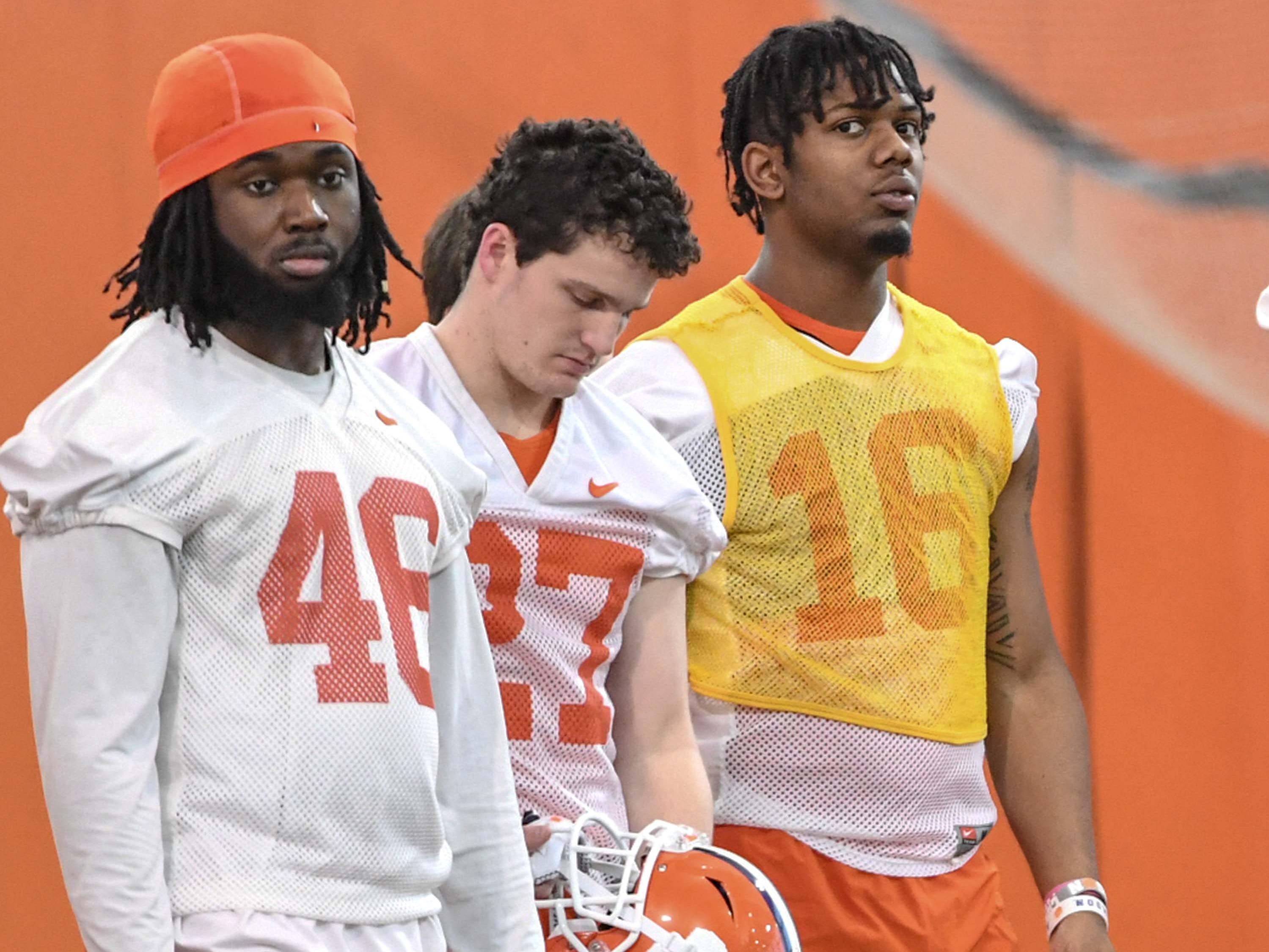 Clemson linebacker John Boyd (46), defensive back Carson Donnelly (27) and defensive back Ray Thornton III (16) during the first practice at the Clemson Indoor Practice Facility in Clemson Wednesday, February 27, 2019.