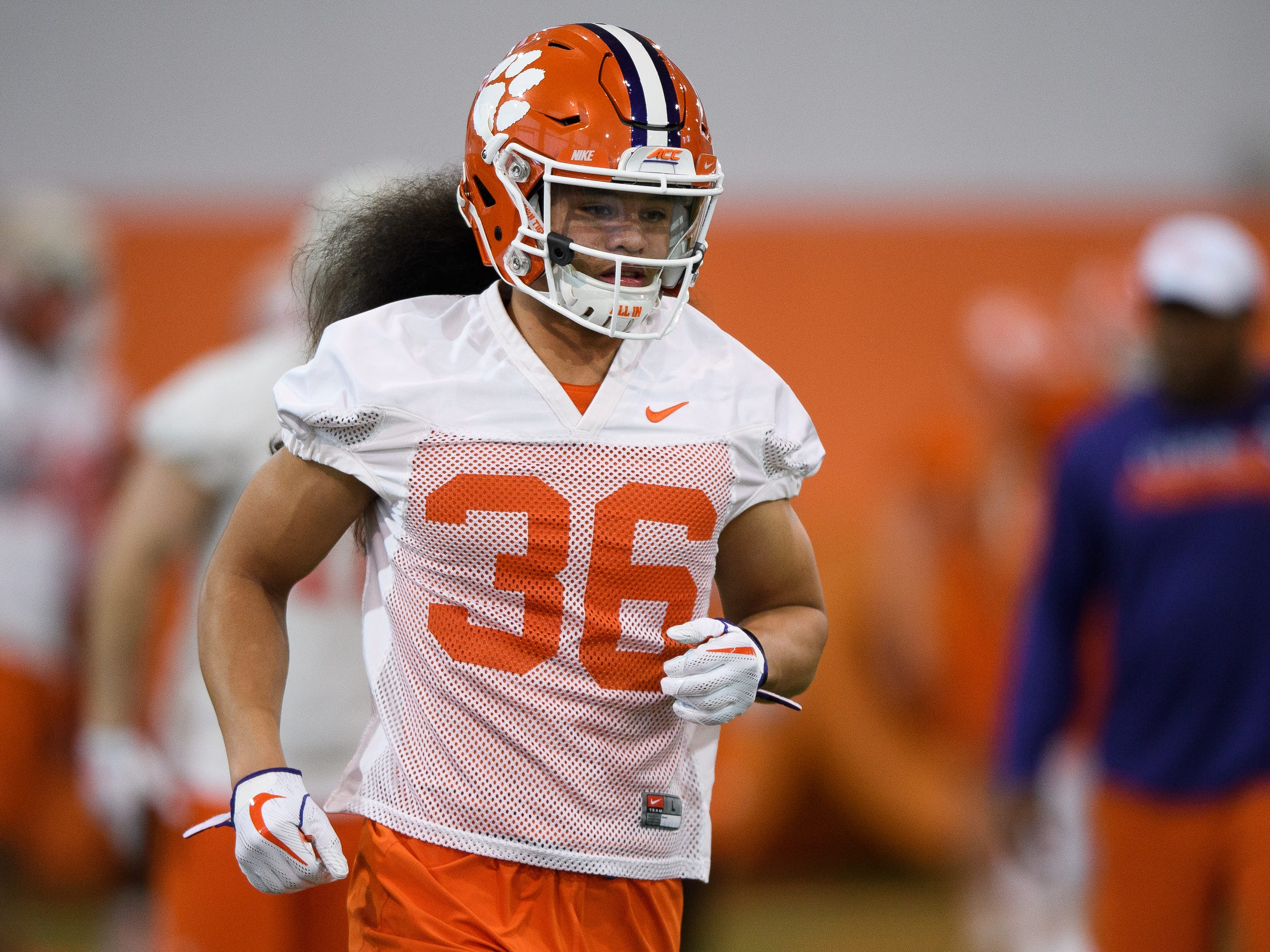 Clemson defensive back Lannden Zanders (36) runs during practice at the Allen Reeves Football Complex on Wednesday, Feb. 27, 2019.