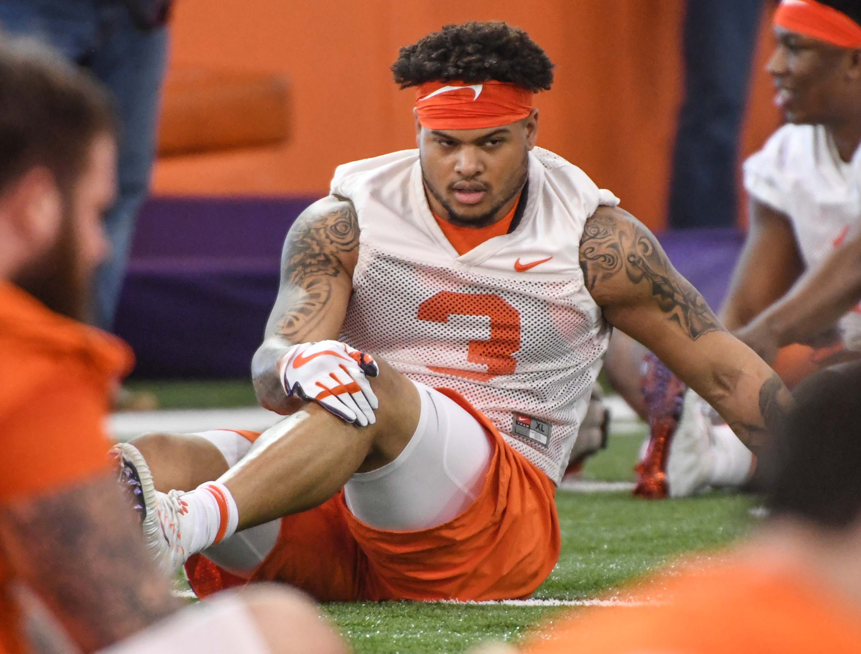 Clemson defensive lineman Xavier Thomas (3) stretches during the first practice at the Clemson Indoor Practice Facility in Clemson Wednesday, February 27, 2019.
