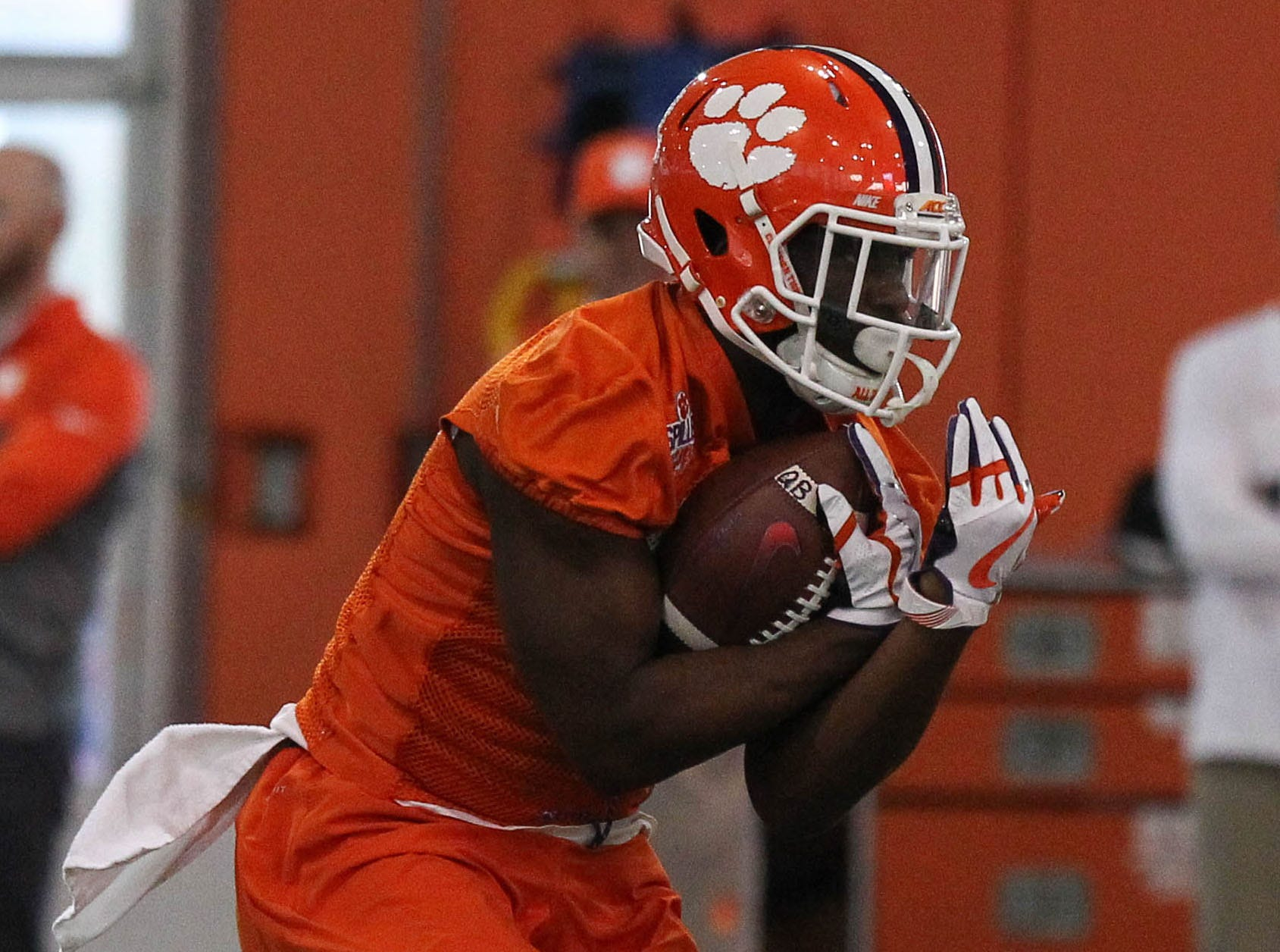 Clemson running back Tavien Feaster (28) at the first practice of the new season at the Allen Reeves Football Complex on Wednesday, Feb. 27, 2019.
