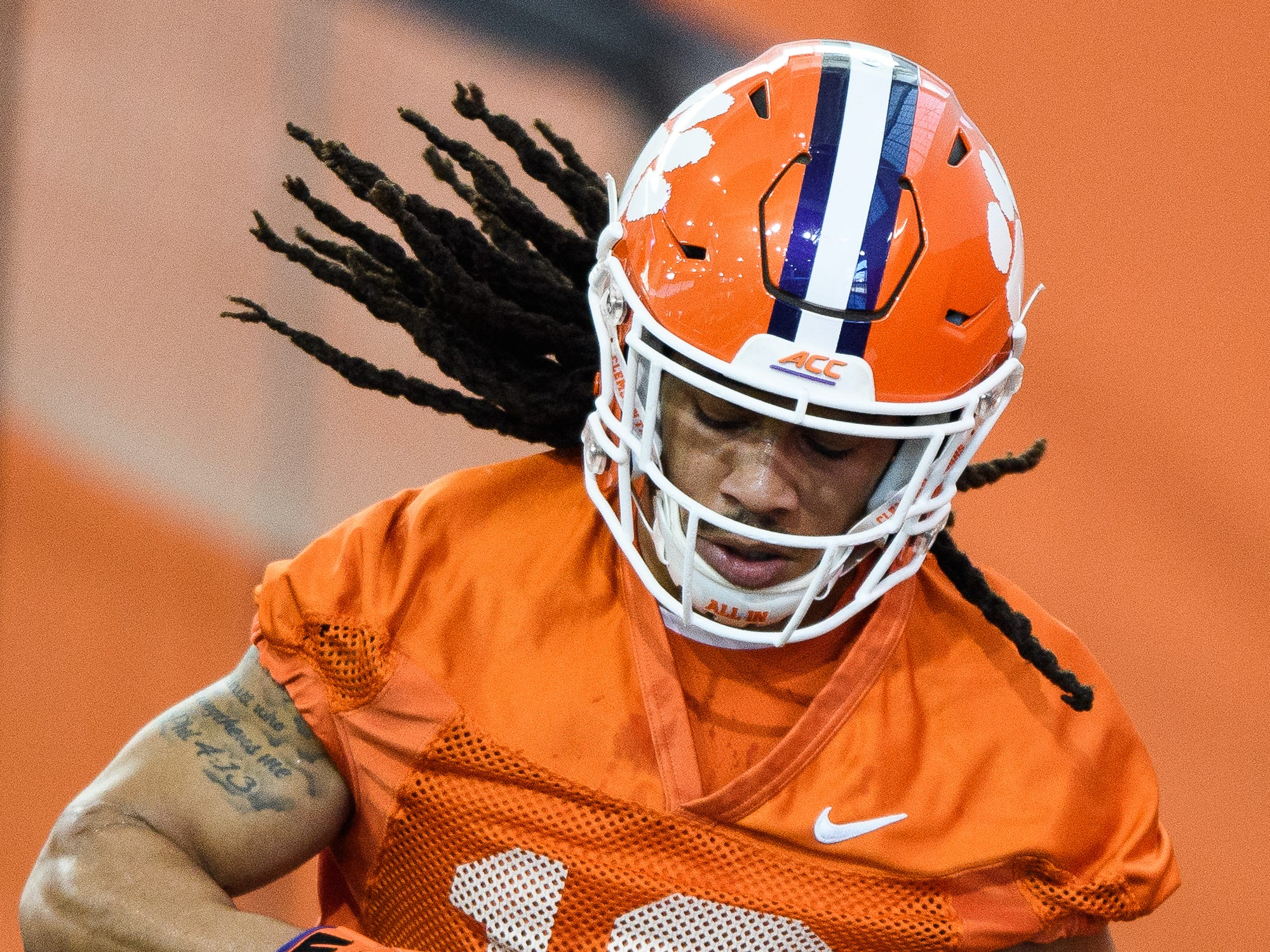 Clemson wide receiver T.J. Chase (18) during practice at the Allen Reeves Football Complex on Wednesday, Feb. 27, 2019.