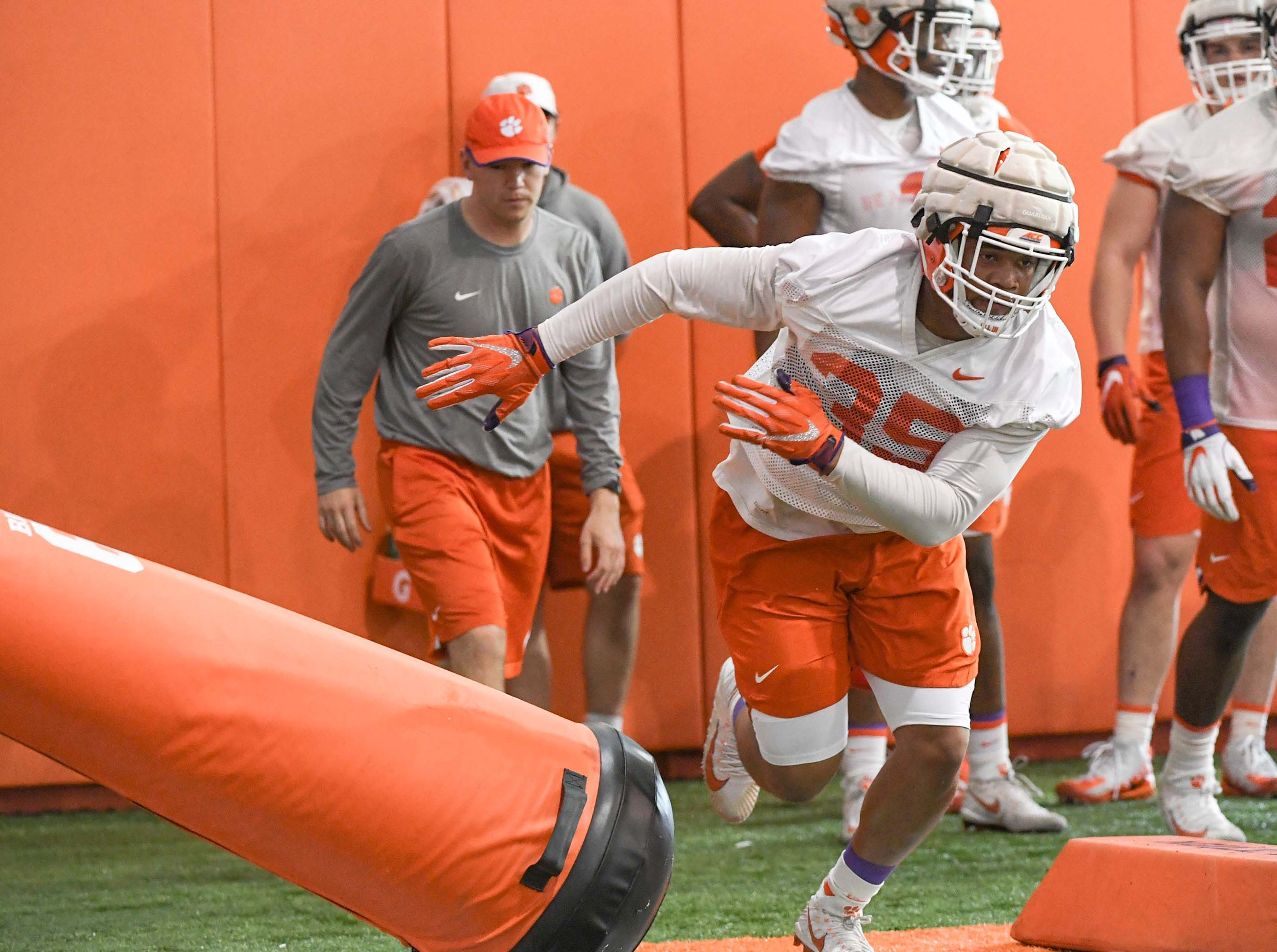 Clemson linebacker Justin Foster (35) during the first practice at the Clemson Indoor Practice Facility in Clemson Wednesday, February 27, 2019.