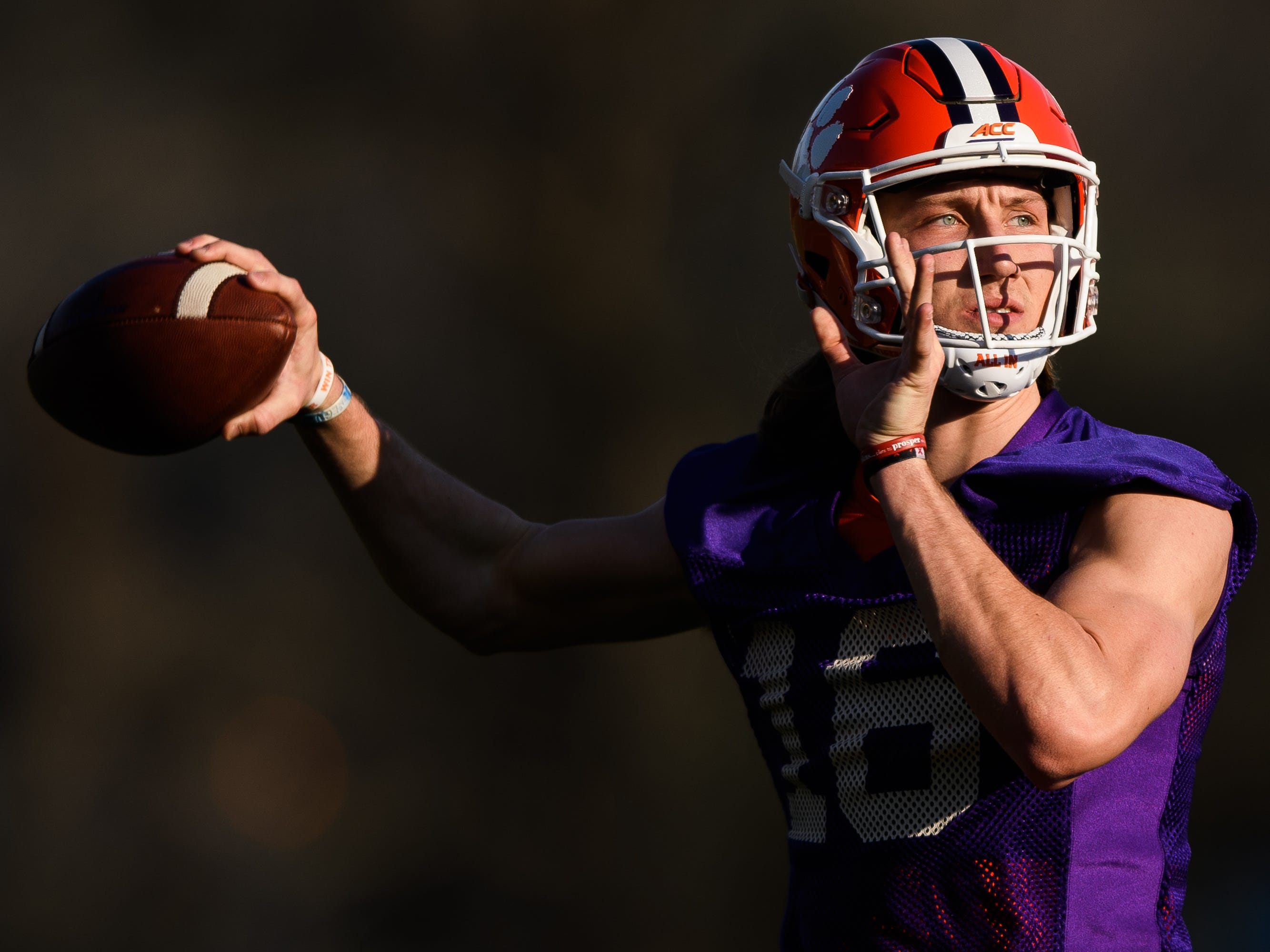 Clemson quarterback Trevor Lawrence (16) throws the ball during practice at the Allen Reeves Football Complex on Wednesday, Feb. 27, 2019.